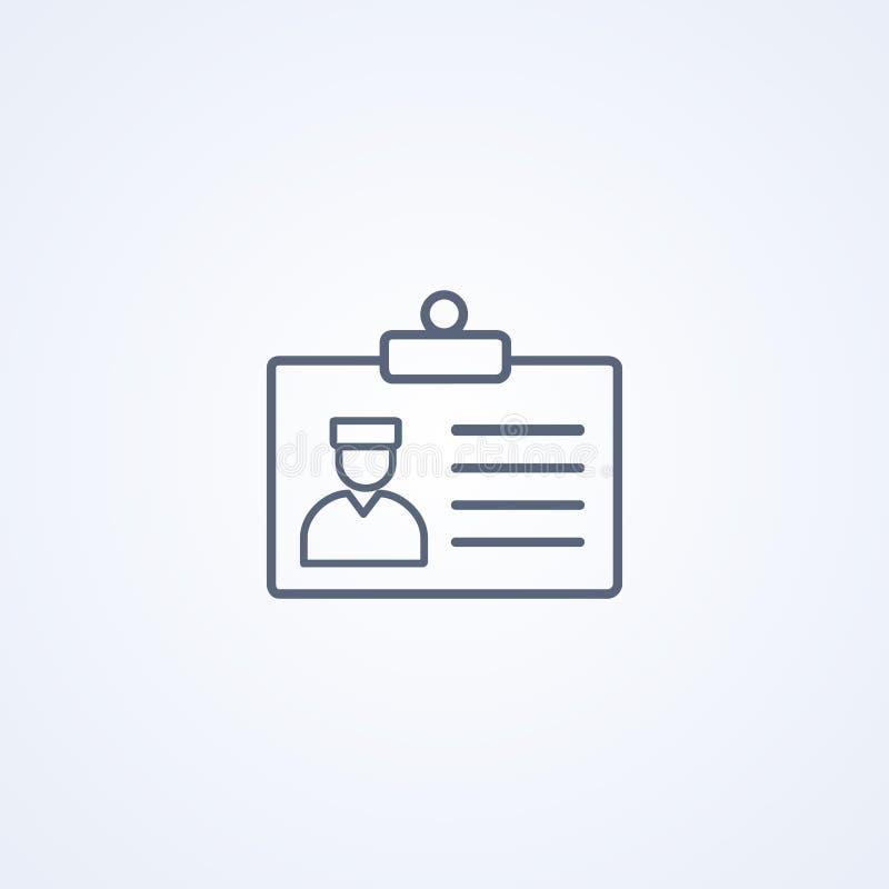 ID-doktors kort, licensdoktor, bästa grå linje symbol för vektor royaltyfri illustrationer