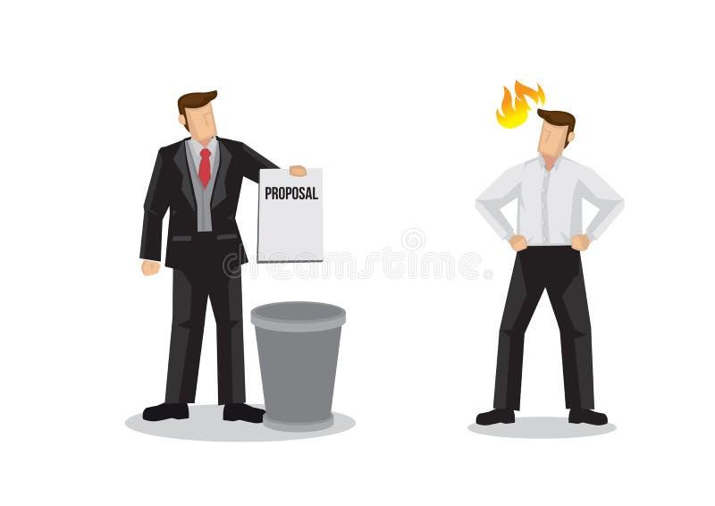 Id?e, proposition ou accord de lancement d'homme d'affaires dans la poubelle devant le cr?ateur du projet Vecteur d'isolement illustration libre de droits