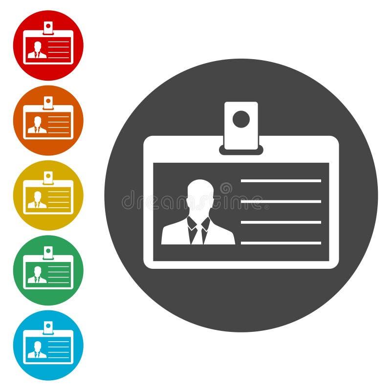 ID för licensen för chaufför` s, pressemblemlegitimationen eller identitetskortsymboler ställde in vektor illustrationer