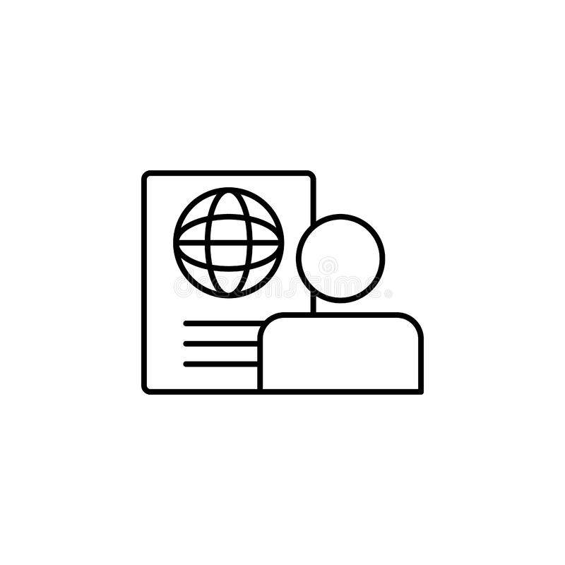 id, global, profile, document icon. Simple thin line, outline  of Hotel Service icons for UI and UX, website or mobile royalty free illustration