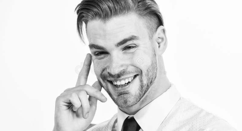 Id?ia engra?ada O sorriso farpado do homem com dedo aumentou isolado no branco Sorriso ou riso macho feliz Conceito da id?ia fres imagens de stock