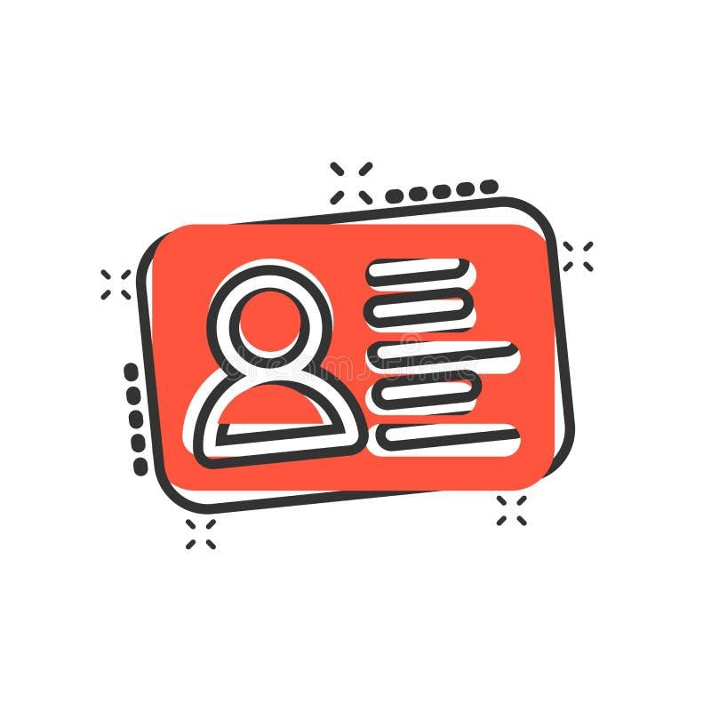 Id karty ikona w komiczka stylu Tożsamości odznaki kreskówki ilustracji wektorowy piktogram Dojazdowi cardholder biznesu pojęcia  royalty ilustracja