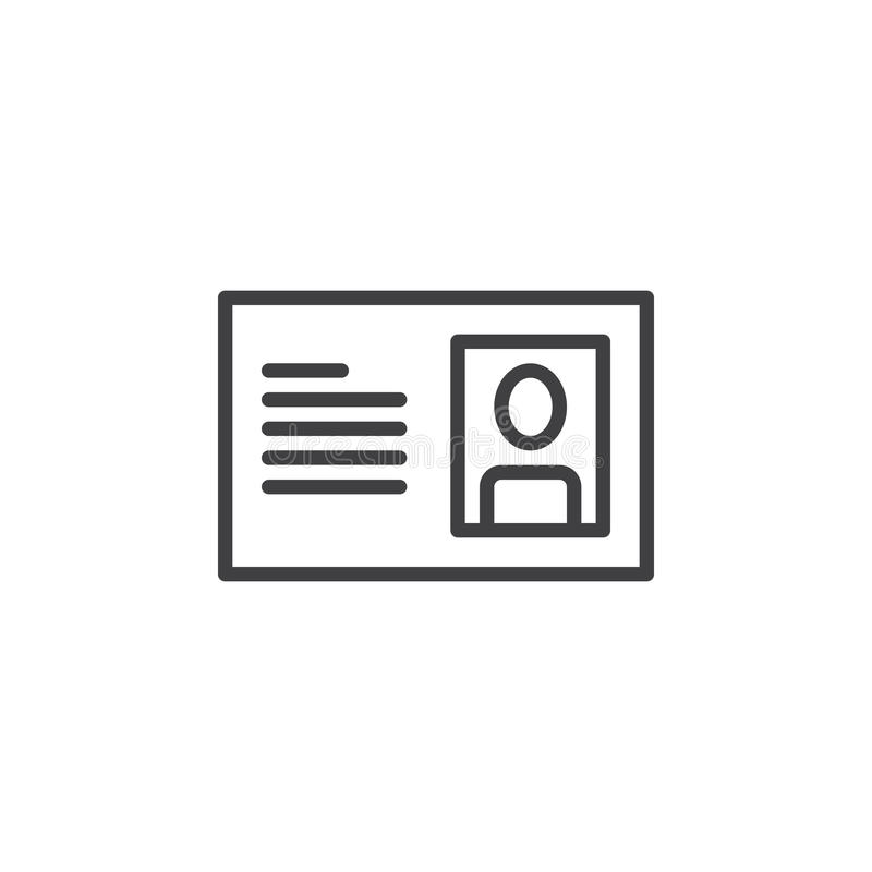 Id karty linii ikona, konturu wektoru znak, liniowy stylowy piktogram odizolowywający na bielu royalty ilustracja