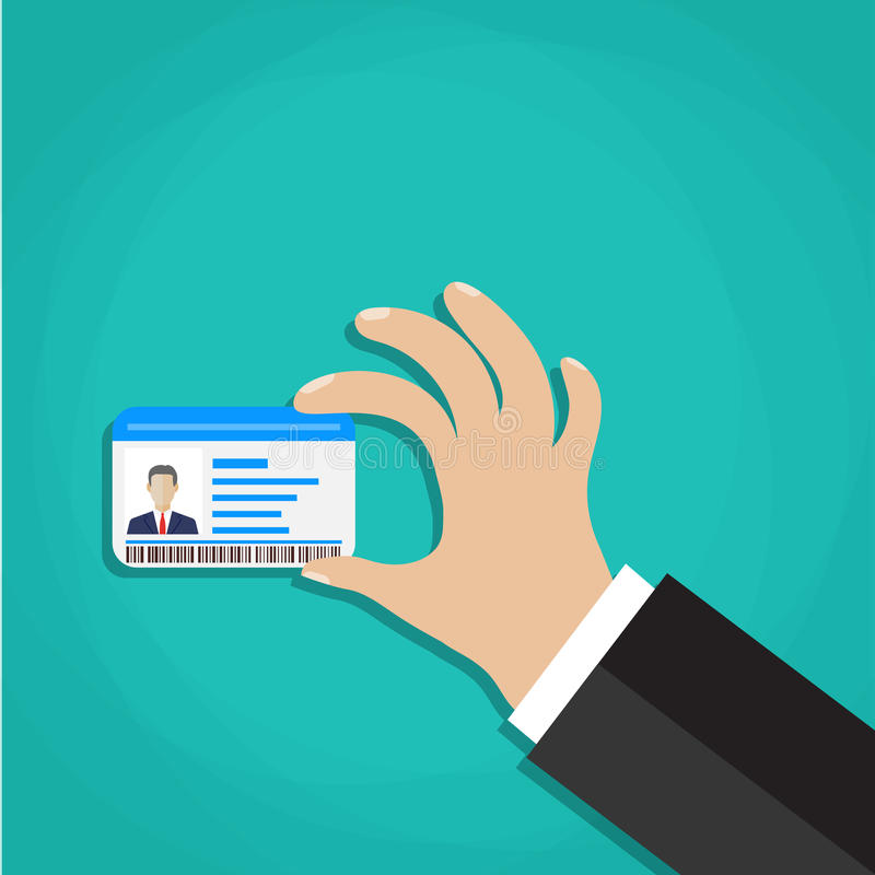 ID-kort i hand vektor illustrationer
