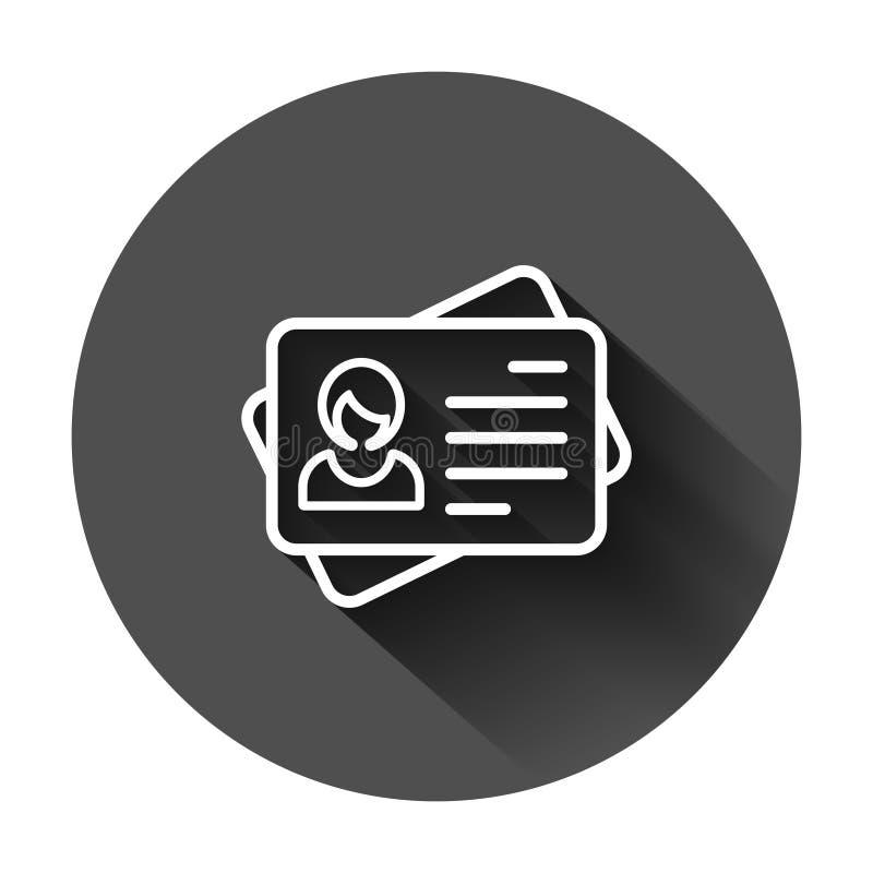 ID-kortsymbol i plan stil Illustration för identitetsetikettsvektor på svart rund bakgrund med lång skugga Chauffören licenserar  stock illustrationer