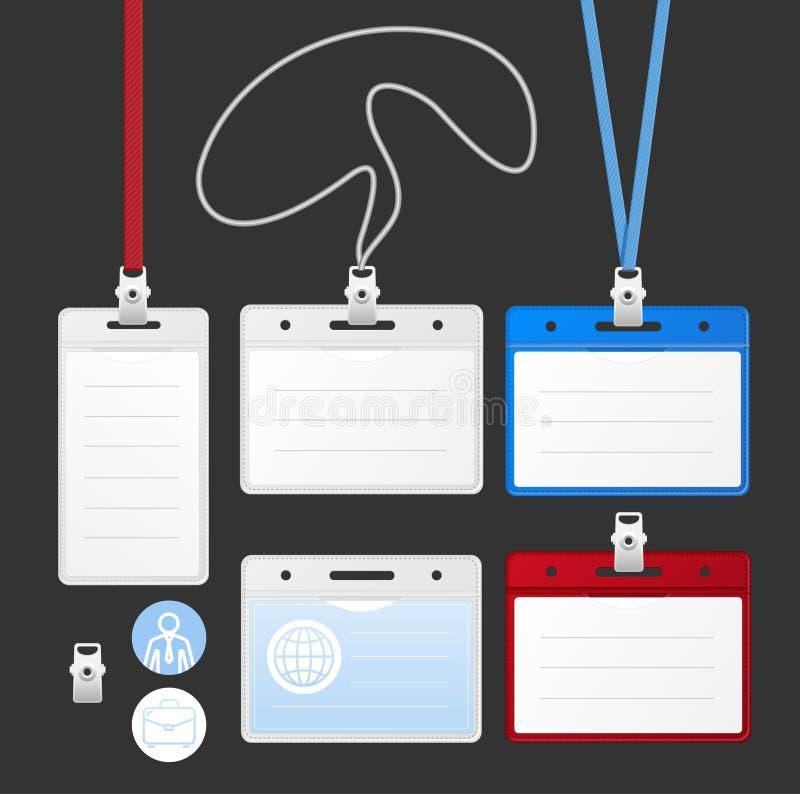 ID-kortuppsättning vektor stock illustrationer