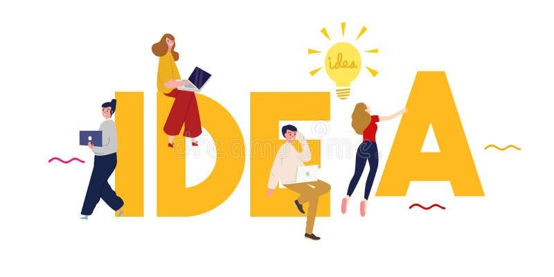 Id? Modern typografidesign i stor text med idérikt folklagarbete Idérik design för dina väggdiagram stock illustrationer