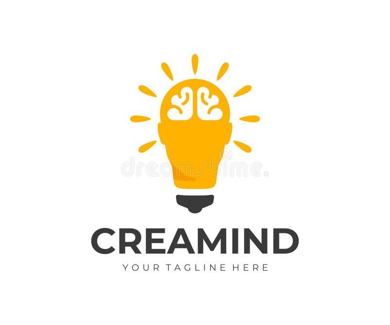 id?rik id?logodesign Mänskligt huvud som vektordesign för ljus kula vektor illustrationer