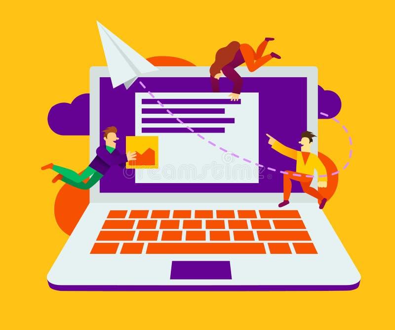 id?rik teamwork Gruppen av litet bygger ett affärsprojekt på internet Bildsk?rmsk?rmen ?r en byggnadsplats vektor illustrationer