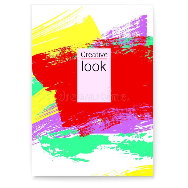 Id?rikt akvarium med lilla goldfis Abstrakt färgrik ram för reklambladet, räkning, inbjudan Livlig modern konst Stilfull geometri royaltyfri illustrationer