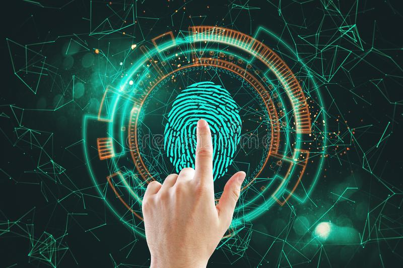 ID and scanning concept. Hand using digital polygonal finger print interface. ID and scanning concept. Double exposure stock photography