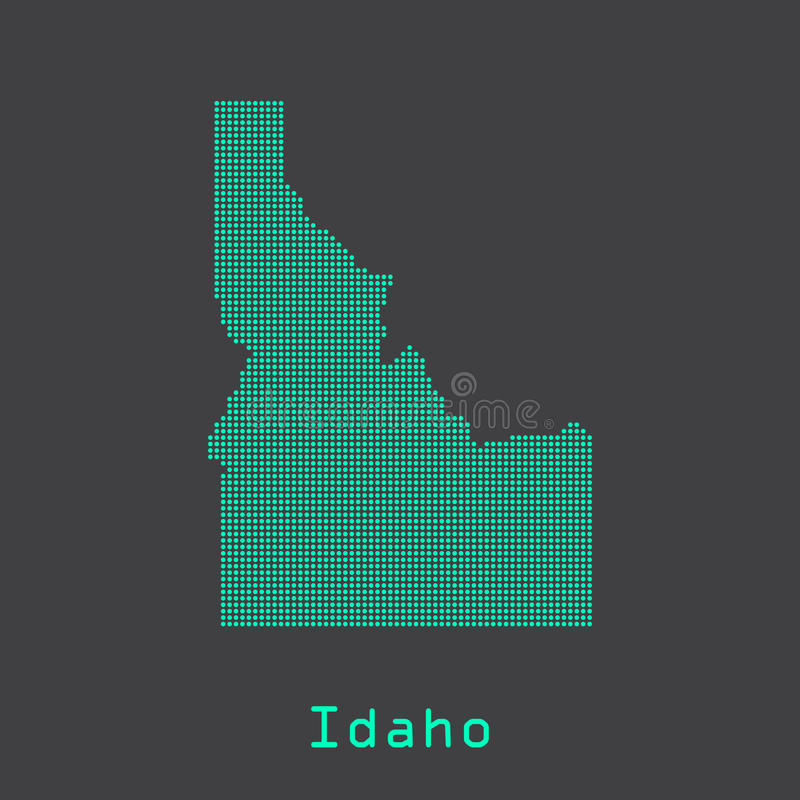 Idaho abstract dots state map. Dotted style. royalty free illustration