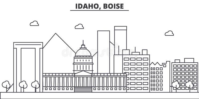 Idaho, Boise architektury linii linii horyzontu ilustracja Liniowy wektorowy pejzaż miejski z sławnymi punktami zwrotnymi, miasto royalty ilustracja
