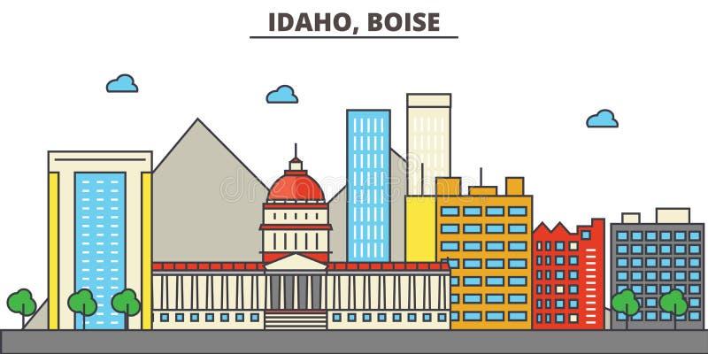 Idaho, Boise.City skyline royalty free illustration