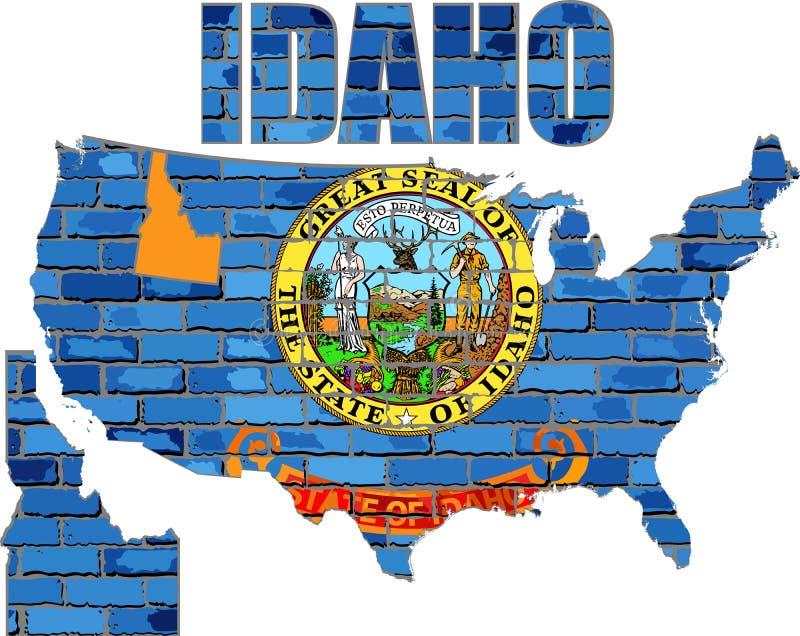 Idaho on a brick wall. Illustration, Font with the Idaho flag, Idaho map on a brick wall vector illustration