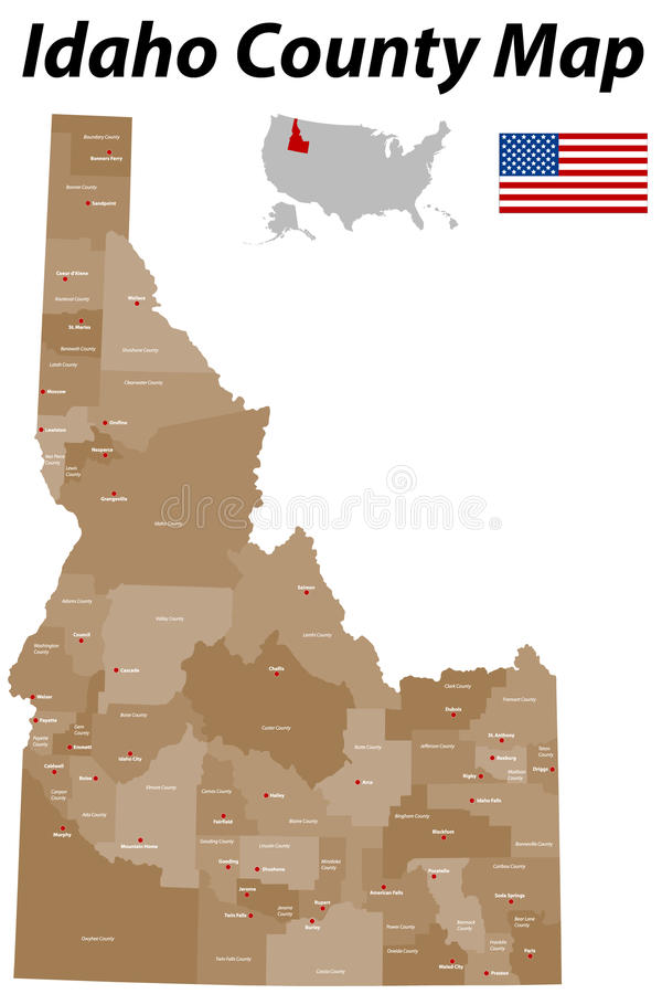 Idaho County Map Stock Vector Image - Idaho state map with cities
