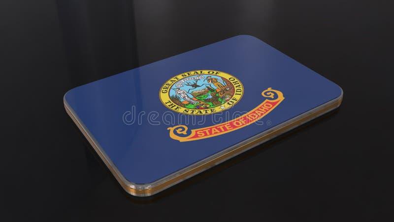 Idaho 3D glossy flag object isolated on black background. Idaho Flag button series of the Unites States stock illustration