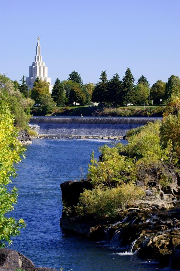 Idaho Falls church and river. Church and snake river Idaho Falls USA royalty free stock photos