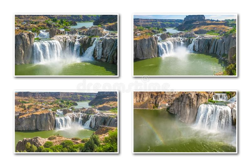 Idaho Falls Collage. Aerial view collage of Shoshone Falls or Niagara of the West, reflected in Snake River, Idaho, United States. White backgroung stock images