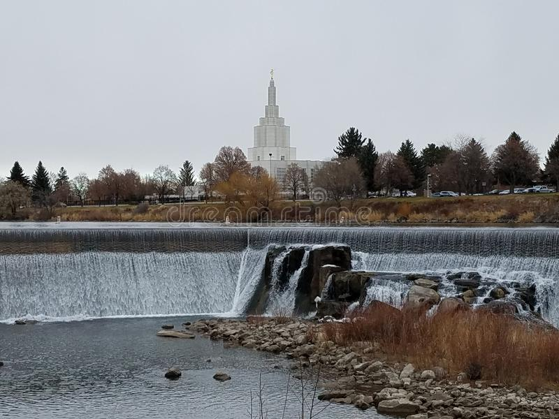 Idaho Falls LDS Temple. Church of Jesus Christ of Latter Day Saints Temple with Idaho Falls royalty free stock images