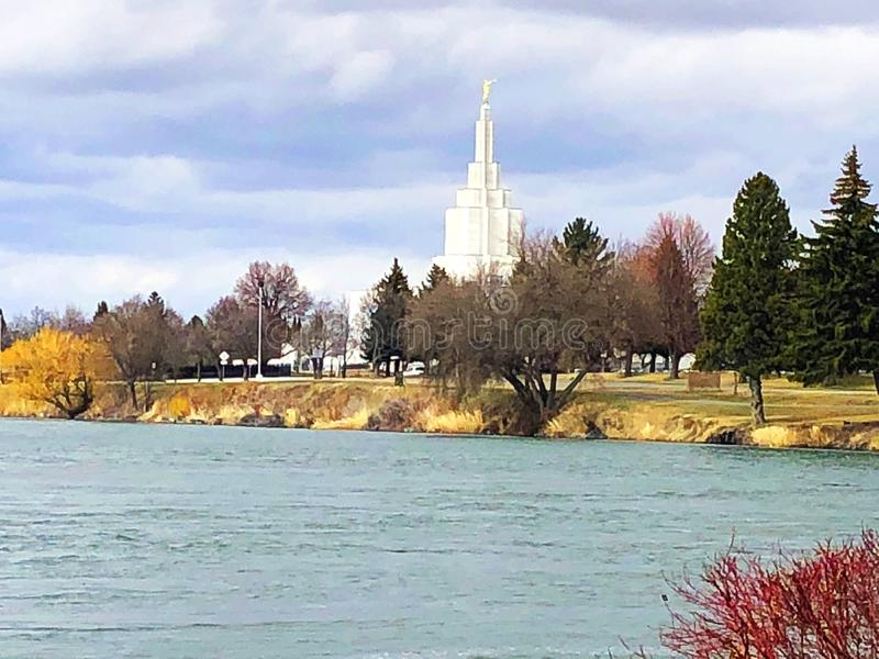 Idaho Falls GreenBelt. The Idaho Falls LDS Temple surrounded by the beautiful Snake River and scenery stock images