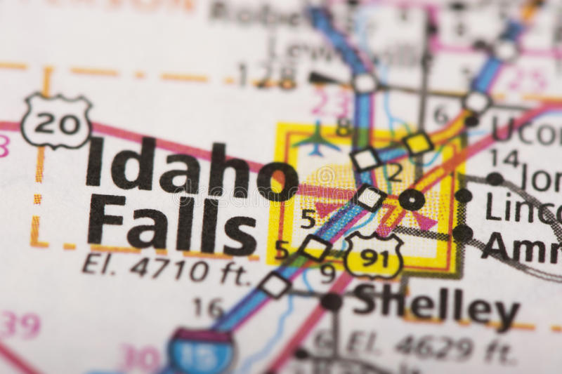 Idaho Falls on map. Closeup of Idaho Falls, ID on a road map of the United States stock images