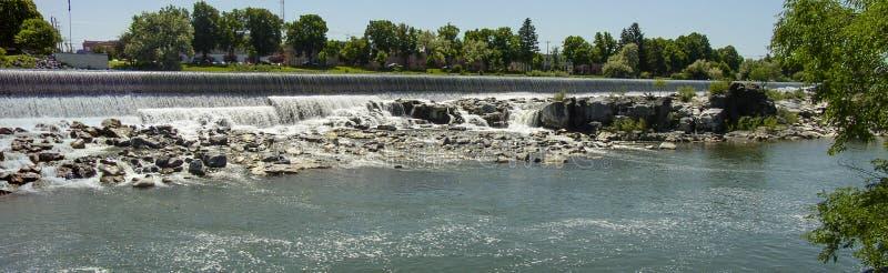 Idaho Falls. Panoramic photograph of the man-made hydroelectric waterfalls at Idaho Falls, Idaho stock images