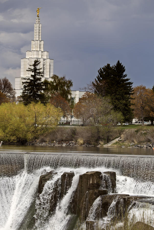 Idaho Falls. In Springtime river cascading water morman church stock photography