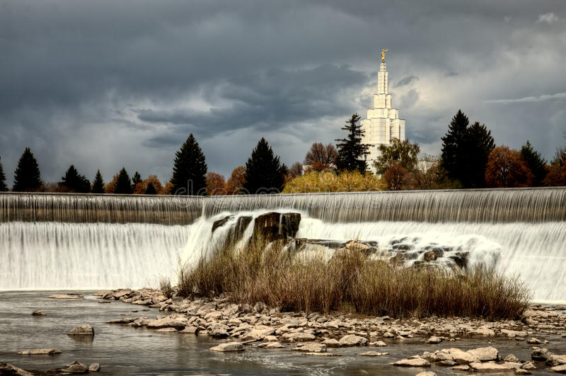 Idaho Falls. In Springtime river cascading water morman church royalty free stock image
