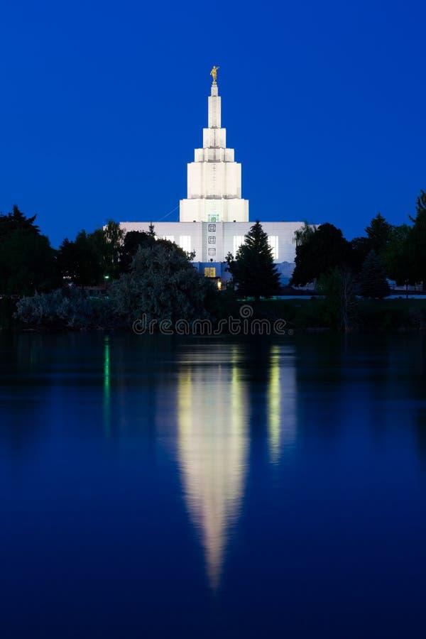 Idaho Falls Temple. Next to Snake River in Idaho Falls, Idaho royalty free stock image