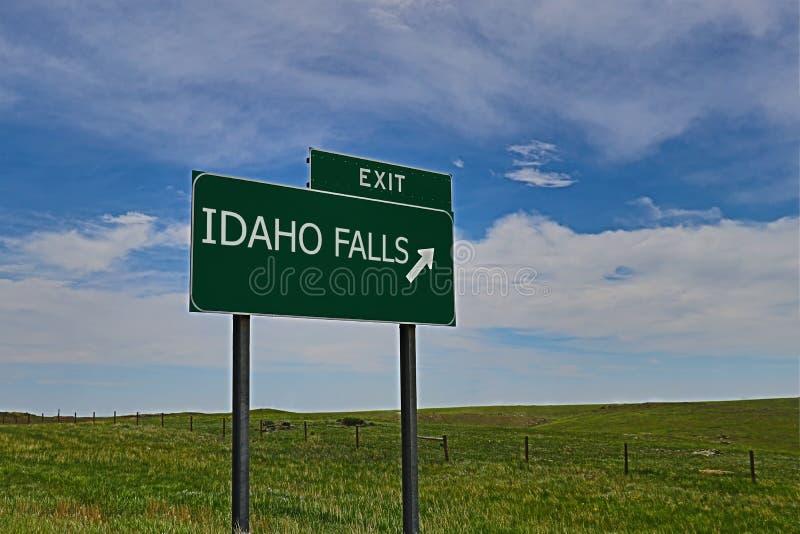 Idaho Falls. US Highway Exit Sign for Idaho Falls HDR Image royalty free stock photo