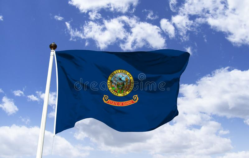 Idaho flag mockup in the wind royalty free illustration