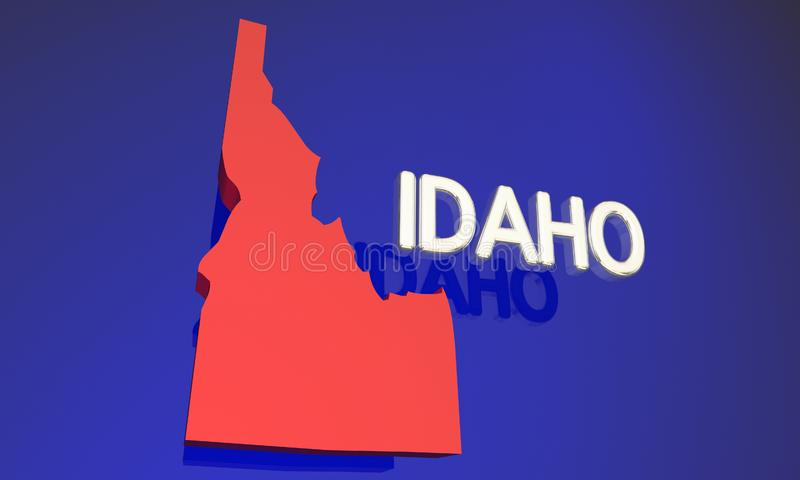 Idaho ID Red State Map Name Word stock illustration