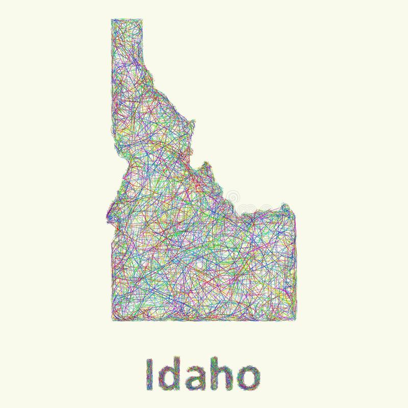 Idaho line art map. From colorful curved lines stock illustration