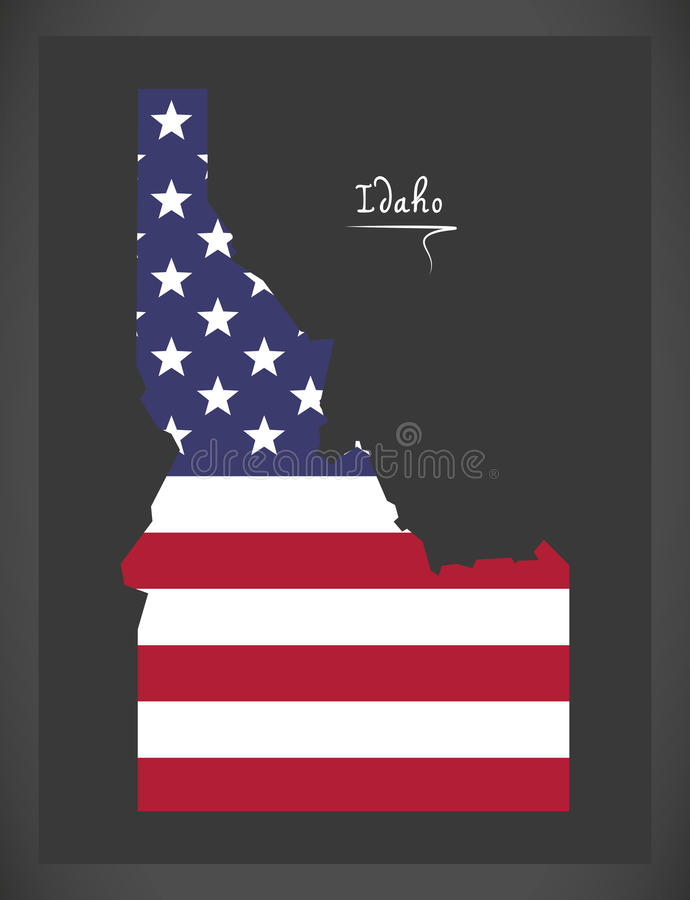 Idaho map with American national flag illustration. In artwork style royalty free illustration
