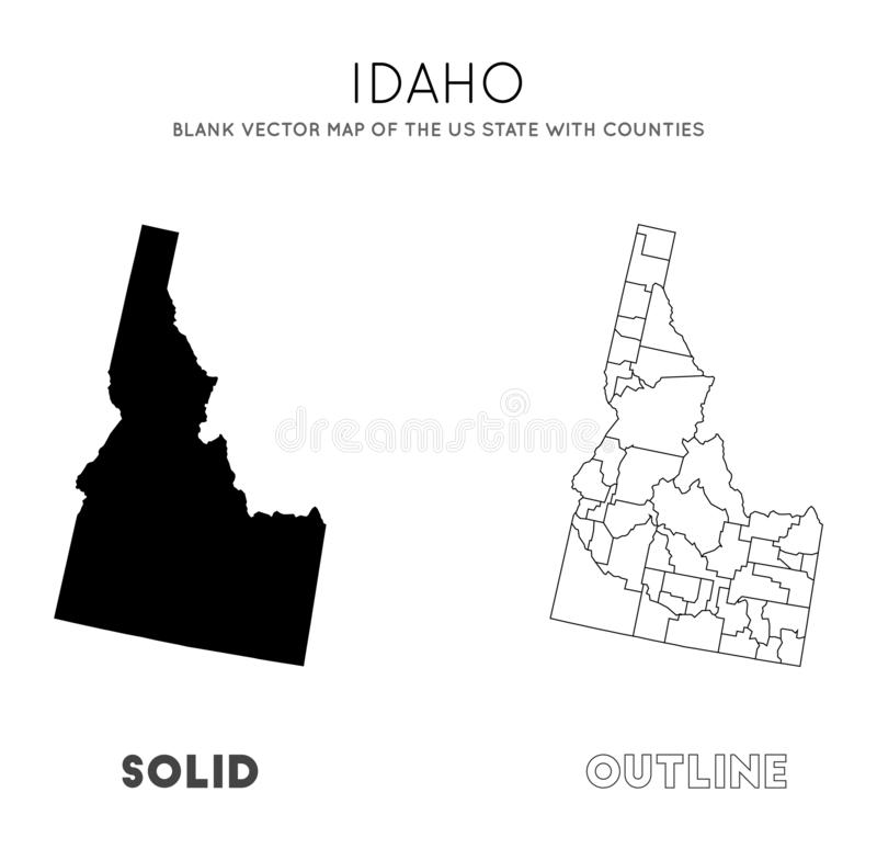 Idaho map. Blank vector map of the Us State with counties. Borders of Idaho for your infographic. Vector illustration stock illustration