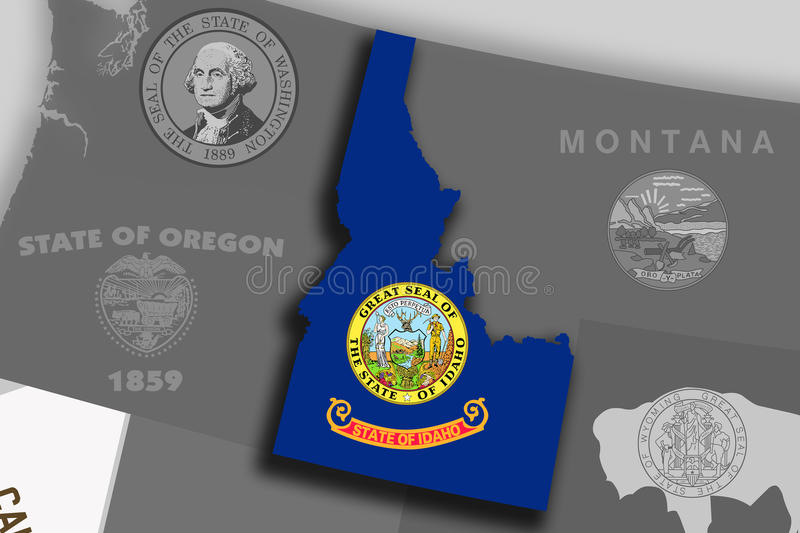 Idaho map and flag. Illustration of the State of Idaho silhouette map and flag. Its a JPG image stock illustration