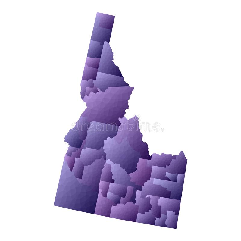 Idaho map. Geometric style us state outline with counties. Awesome violet vector illustration stock illustration