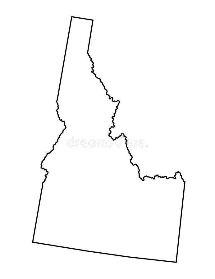 Idaho map outline vector illustartion. Isolated on white background stock illustration
