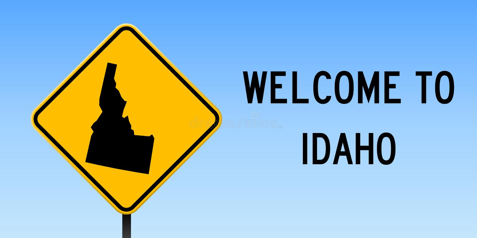 Idaho map on road sign. Wide poster with Idaho us state map on yellow rhomb road sign. Vector illustration vector illustration
