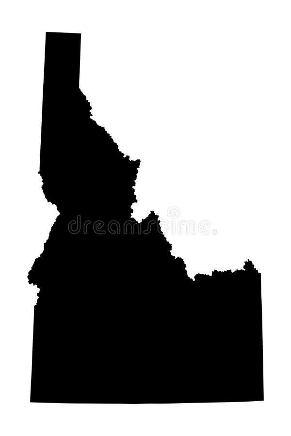 Idaho map silhouette. Isolated on white background. High detailed silhouette illustration. United state of America country stock illustration