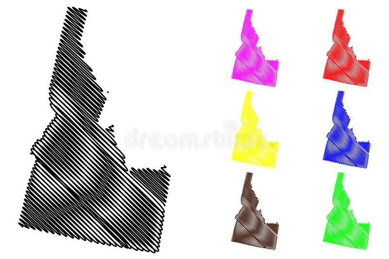 Idaho map vector. Illustration, scribble sketch Idaho map black, red, blue, green, yellow, purple stock illustration