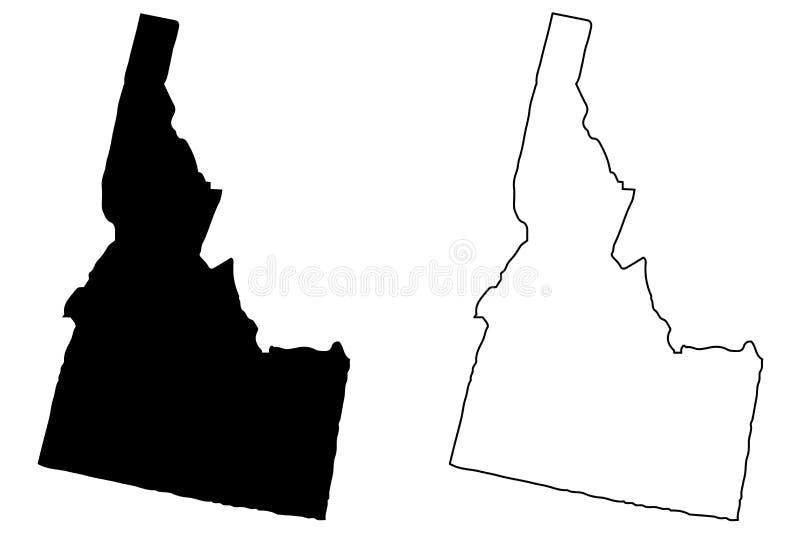 Idaho map vector. Illustration, scribble sketch Idaho map stock illustration