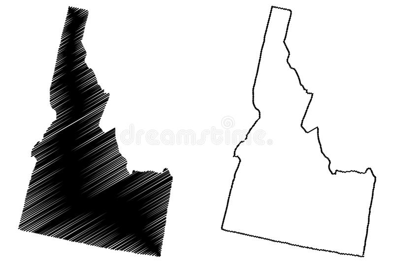 Idaho map vector. Illustration, scribble sketch Idaho map vector illustration