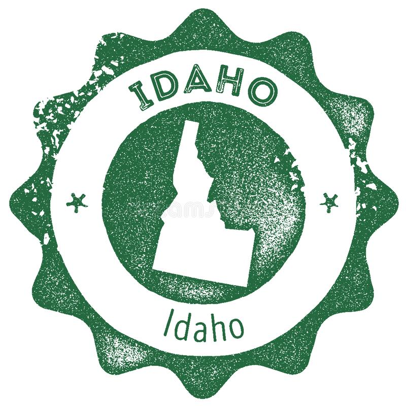 Idaho map vintage stamp. Retro style handmade label, badge or element for travel souvenirs. Dark green rubber stamp with us state map silhouette. Vector royalty free illustration
