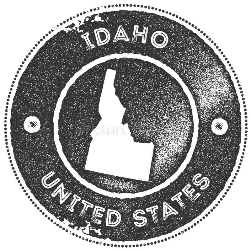 Idaho map vintage stamp. Retro style handmade label, badge or element for travel souvenirs. Dark grey rubber stamp with us state map silhouette. Vector stock illustration