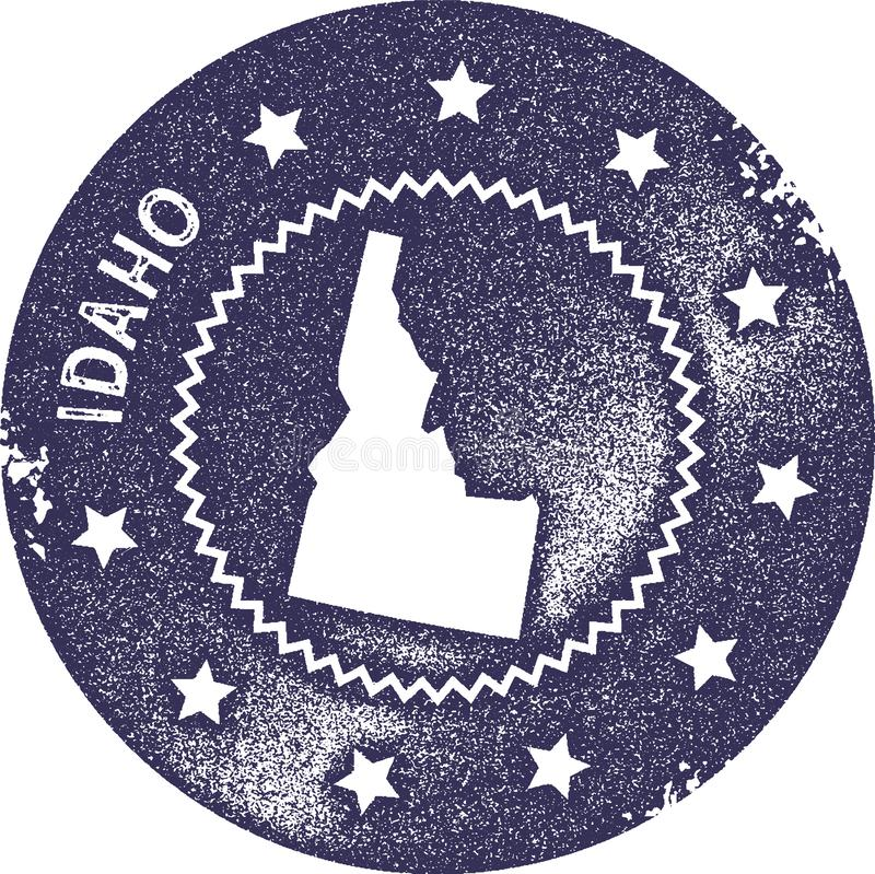 Idaho map vintage stamp. Retro style handmade label, badge or element for travel souvenirs. Deep purple rubber stamp with us state map silhouette. Vector royalty free illustration