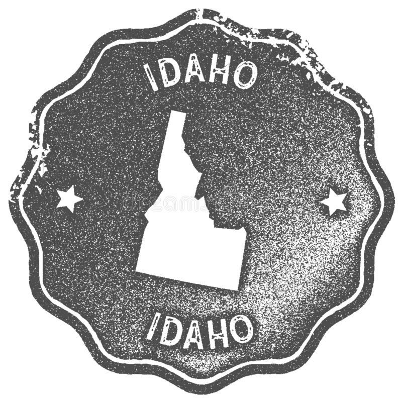 Idaho map vintage stamp. Retro style handmade label, badge or element for travel souvenirs. Grey rubber stamp with us state map silhouette. Vector illustration stock illustration