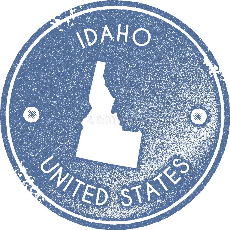 Idaho map vintage stamp. Retro style handmade label, badge or element for travel souvenirs. Light blue rubber stamp with us state map silhouette. Vector royalty free illustration