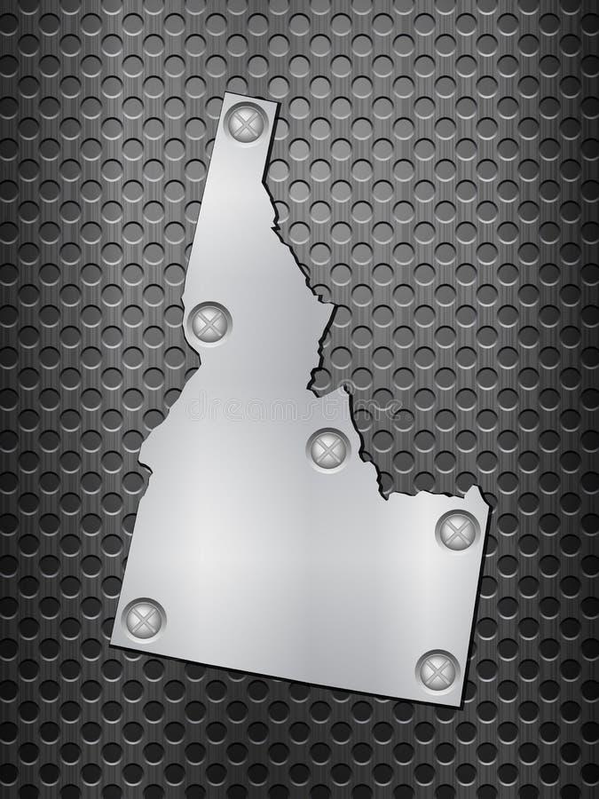 Idaho metal map. On a black metal grid vector illustration